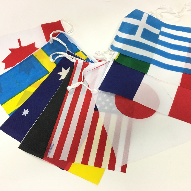 BUN0031 BUNTING, World Flags - 10 Flags 15cm x 23cm x 3m length (on cord) $5