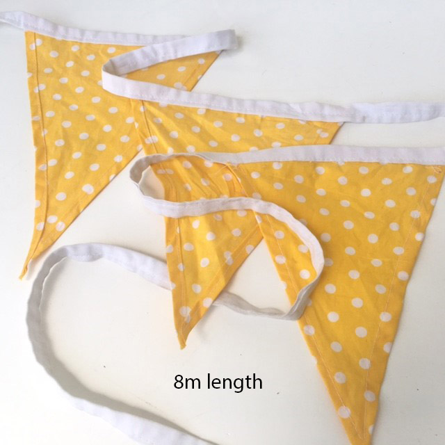 BUN0013 BUNTING, Yellow Polka Dot - 8m Length $17.50