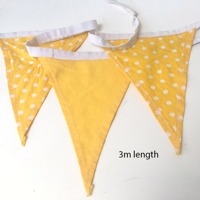 BUN0011 BUNTING, Yellow & Yellow Polka Dot - 3m Length $7.50
