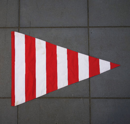 FLA0007 FLAG, Pennant - Red & White Stripe Cotton 50 x 80cm $18.75