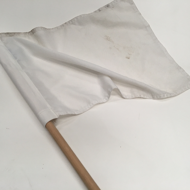 FLA0052 FLAG, Handwaver - White Cotton On Short Stick (53 x 40cm) $10