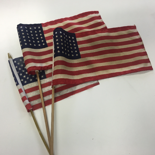 FLA0078 FLAG, Handwaver - Aged USA (30-35cm x 15-18cm) Assorted $1.50
