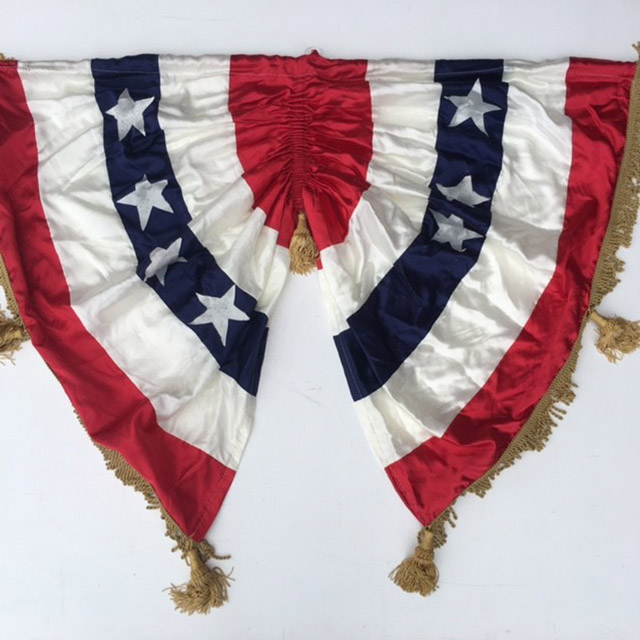 FLA0003 FLAG, Rosette - USA Pleated Silk Fan w Tassles 1.2m x 90cm $31.25