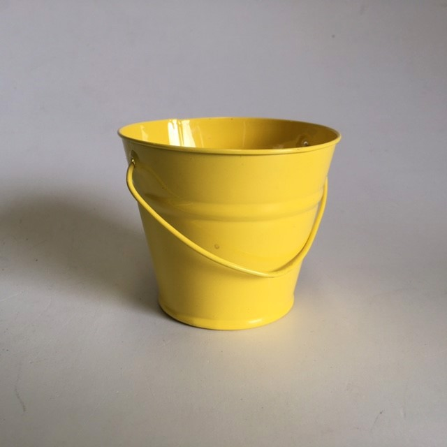 BUC0030 BUCKET, Ex Small Metal - Yellow 10cm D x 8.5cm H $1.25
