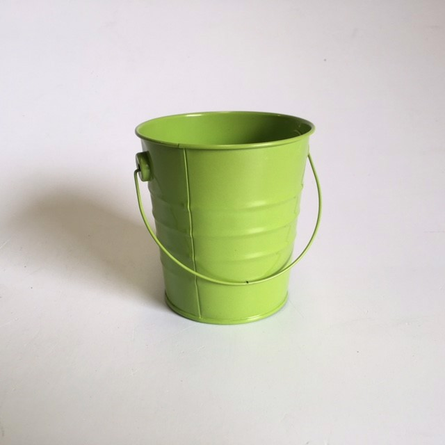 BUC0028 BUCKET, Ex Small Metal - Lime Green 10cm D x 10.5 cm H $1.25