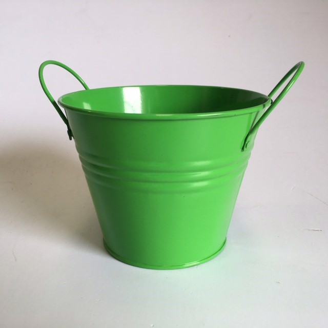 BUC0032 BUCKET, Small Metal - Green 2 Handle 14.5cm D x 11cm H $1.50
