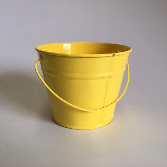 BUC0033 BUCKET, Small Metal - Yellow 12cm D x 10cm H $1.50