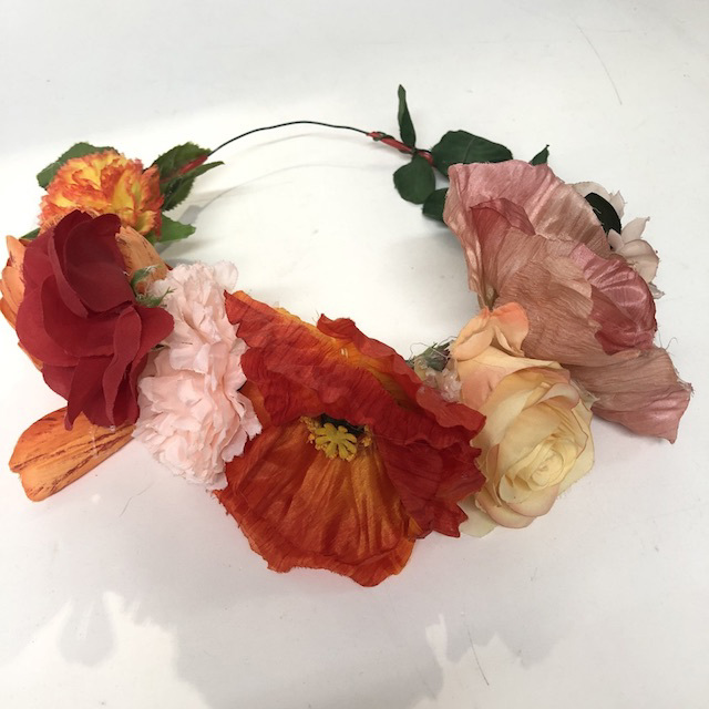 FLO0118 FLORAL HEADBAND, Poppies, Roses & Carnations $8
