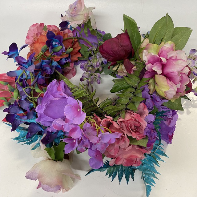 FLO0150 FLORAL ARRANGEMENT, Pink Purple Salmon and Electric Blue (For Urns) $30