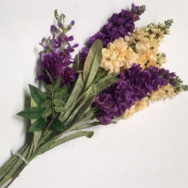 FLO0075 FLOWER, Delphinium - Purple or Cream $2