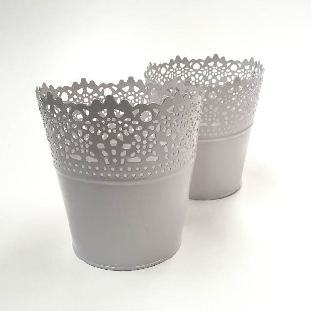 POT0122 POT, Small Planter Pot - White Metal Lace $2.50