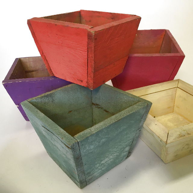 PLA0021 PLANTER, Coloured Wood 12cm H x 16cm W $5