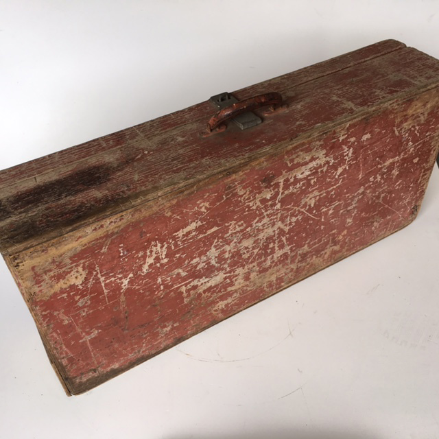 TOO0009 TOOL BOX, Large Painted Timber - Red (86cmW X 40cmH) $22.50