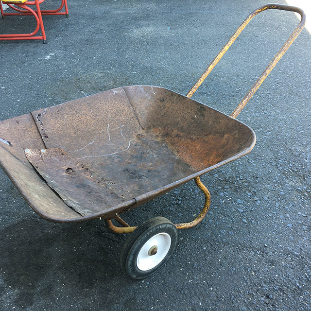 WHE0005 WHEELBARROW, Low and Shallow Rusted $22.50