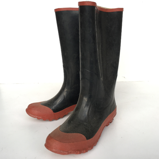 BOO0002 BOOTS, Gumboots Black Brown Trim $11.25