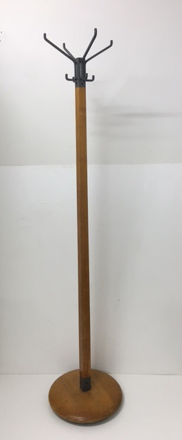 HAT0053 HAT STAND, Timber & Grey Steel 1950s $25
