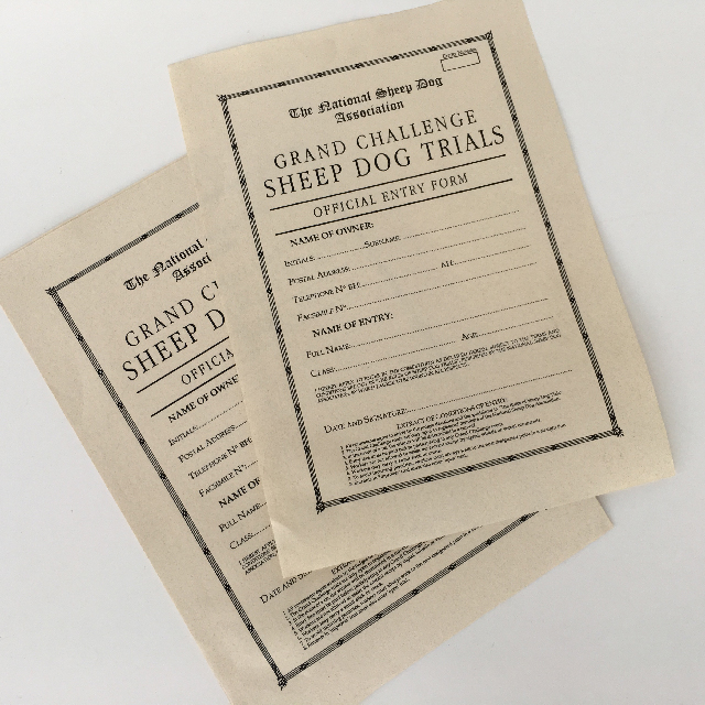 FOR0001 FORM, Entry Form - Dog Show $1.25