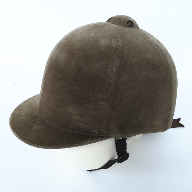 HEL0051 HELMET, Riding Hat - Faded Brown Velvet $15