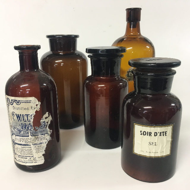 APO0002 APOTHECARY BOTTLE, Brown Glass Assorted Medium $7.50