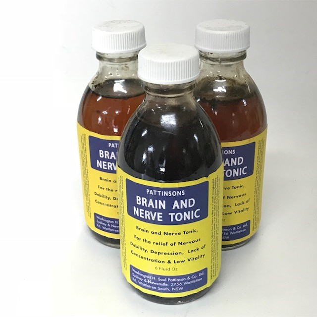 BOT0174 BOTTLE, Medical Brown Glass 15cmH - Brain and Nerve Tonic Label $3