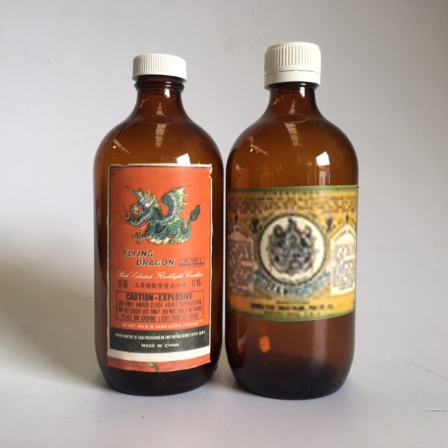 BOT0154 BOTTLE, Medical - Brown Glass w Chinese Medicine Label $3.50