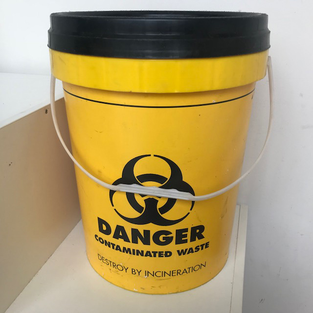 CON0020 CONTAMINATED WASTE CONTAINER - Yellow 20L 40cm H $11.25