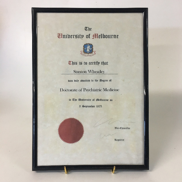 CER0035 CERTIFICATE, University Of Melbourne - Doctorate of Psychiatric Medicine $11.25