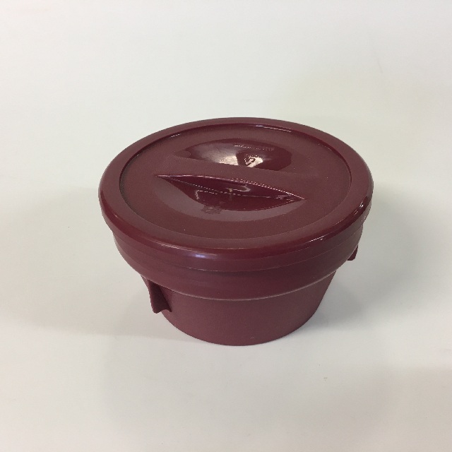 HOS0006 HOSPITAL FOOD CONTAINER, Burgundy Set - Small Bowl w Lid $3.75