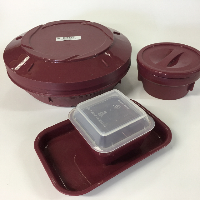 Set of Burgundy Food Containers (Priced Separately)