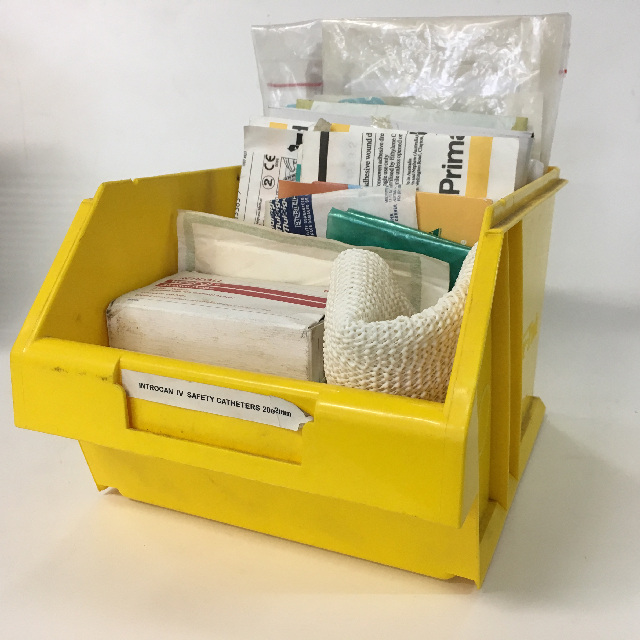 MED0070 MEDICAL SUPPLIES, Yellow Storage Container w Supplies $10