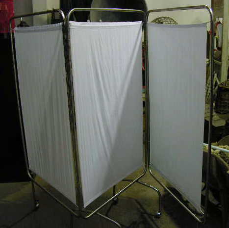 SCR0005 SCREEN, 3 Panel Stainless Steel Frame w Off White Fabric $50