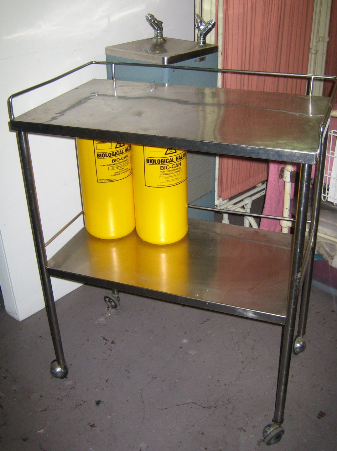 TROLLEY with Sharps Containers & Water Cooler