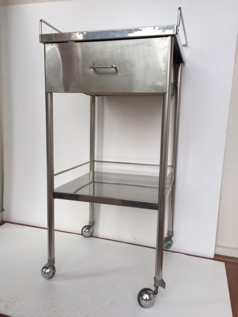 TRO0120 TROLLEY, Square Stainless Steel 2 Tier - 45 W x 95cm H $62.5