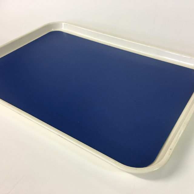TRA0023 TRAY, White w Blue Mat - Cafeteria Style $5