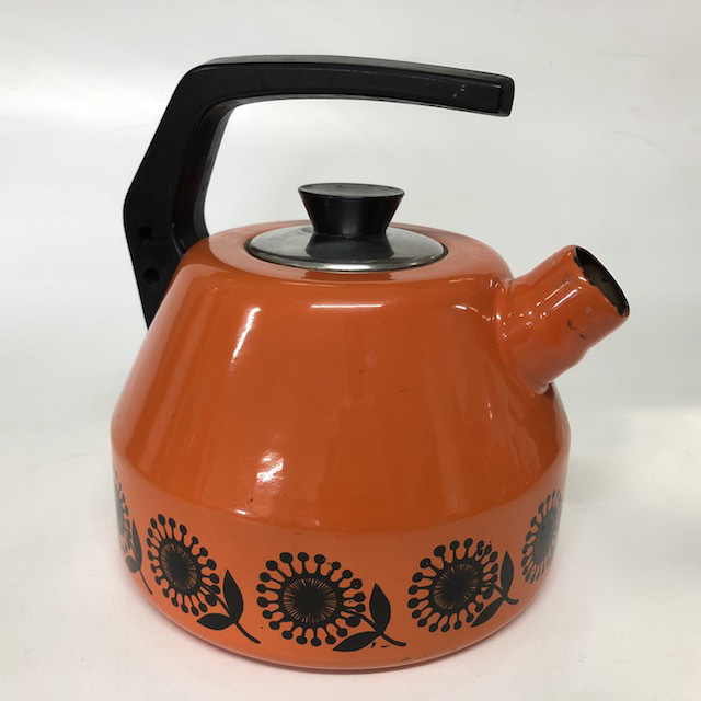 KET0005 KETTLE, 1970's Retro - Orange w Black Flowers $10