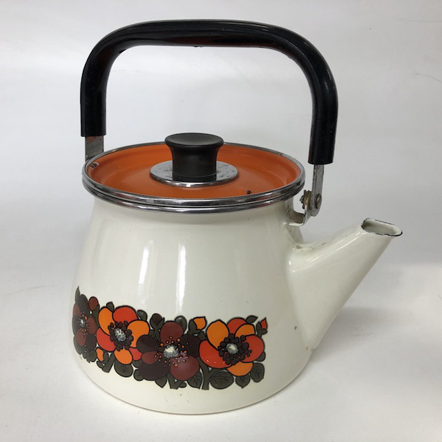 KET0006 KETTLE, 1970's Retro - White w Orange Flowers $10