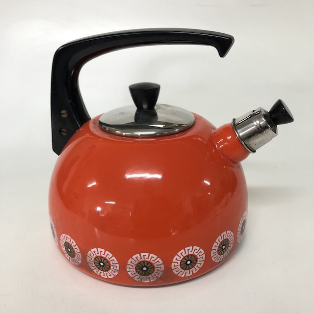KET0007 KETTLE, 1970's Retro Orange Floral $10