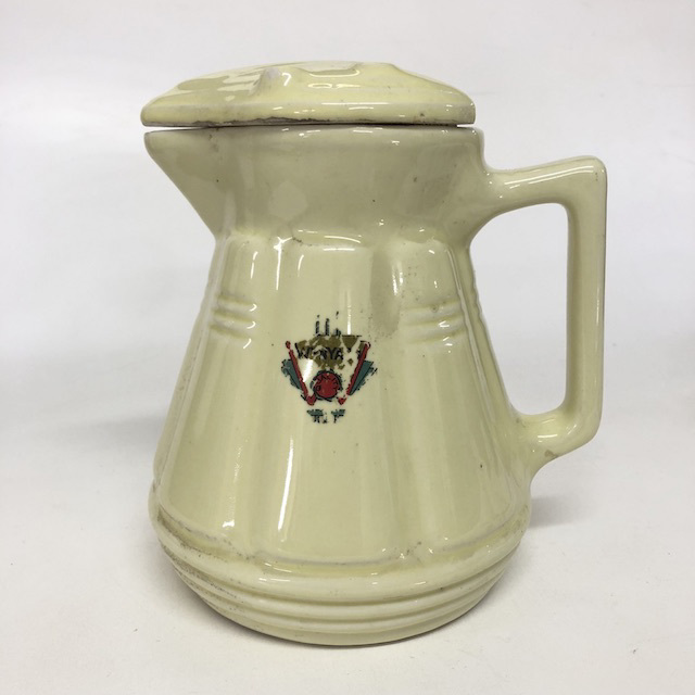 KET0016 KETTLE, Ceramic Jug - 1930's 40's Pale Yellow $12.50