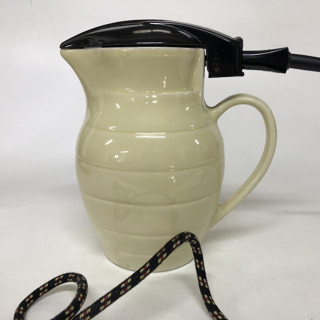 KET0018 KETTLE, Ceramic Jug - Pale Yellow Ribbed $10