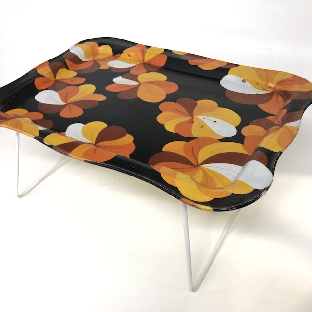 TAB0090 TABLE TRAY, 1970's Black Orange Floral Design $7.50