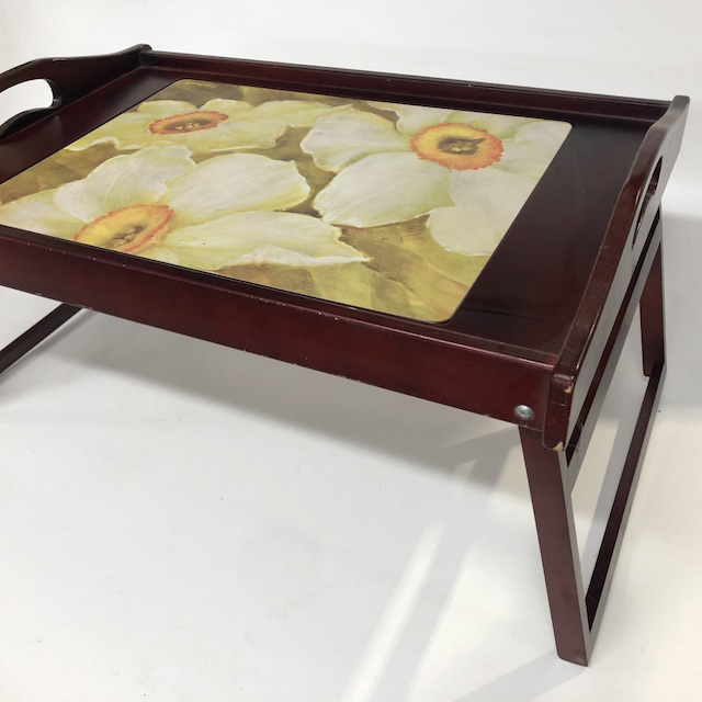 TAB0092 TABLE TRAY, Dark Stained Timber w Floral Inset $6.25