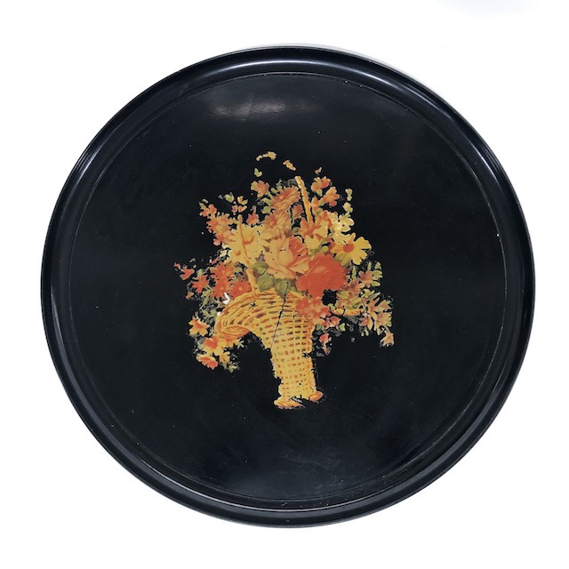 TRA0066 TRAY, 1950's Black w Orange Floral Basket $7.50