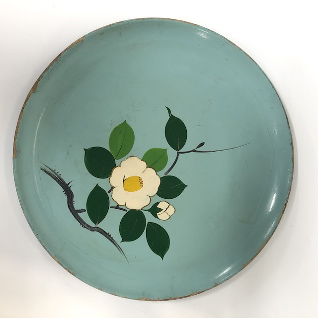 TRA0067 TRAY, 1950's Blue w Painted Flower - Asian Style $7.50
