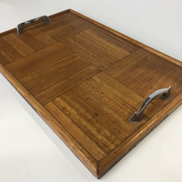 TRA0069 TRAY, 1950's Wooden Parquetry w Chrome Handles $7.50