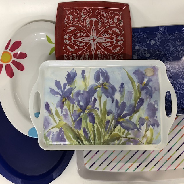 TRA0071 TRAY, Plastic and Melamine Assorted $3.75