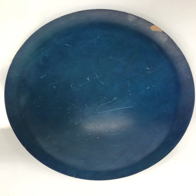 TRA0072 TRAY, Blue Wooden - Large Round $5
