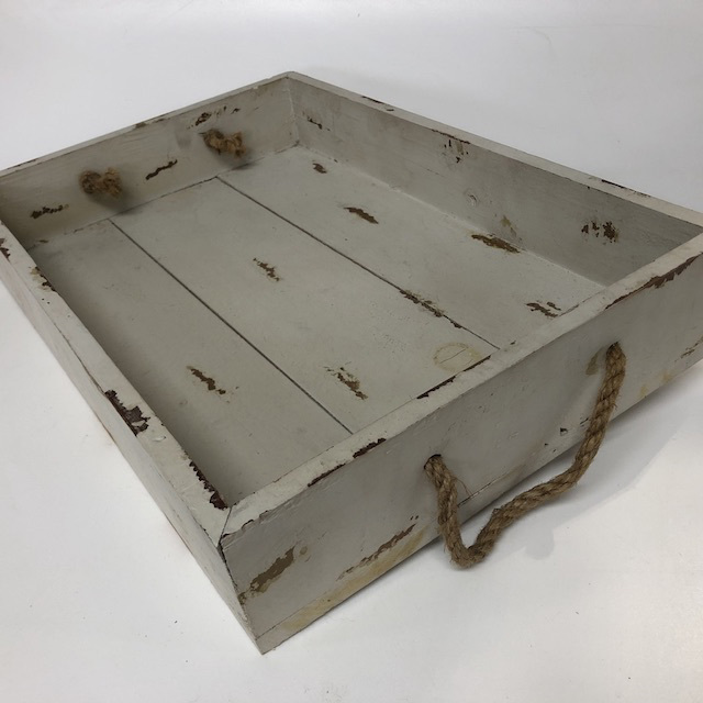 TRA0004 TRAY, Cream Distressed Timber w Rope Handles $6.25