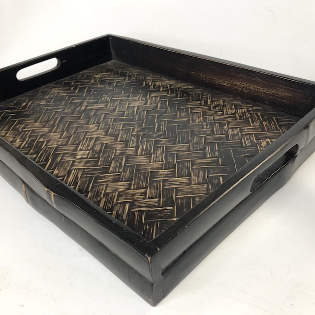 TRA0075 TRAY, Dark Stained Bamboo - Asian Style $10