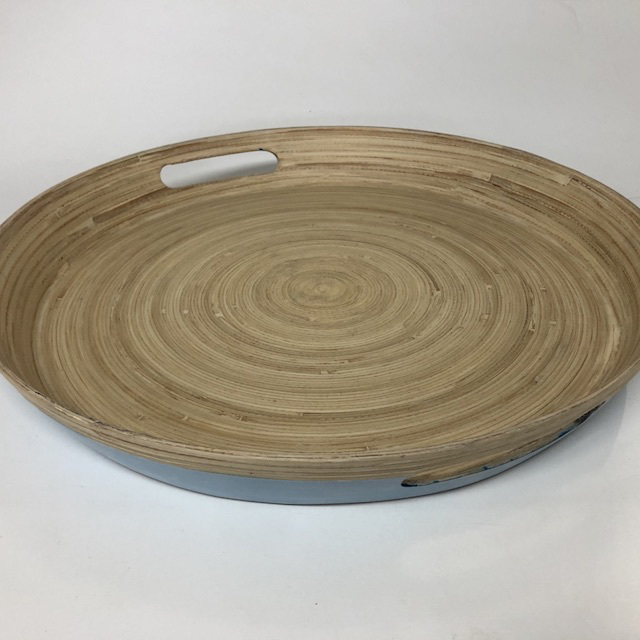 TRA0082 TRAY, Light Blue Bamboo - Round $6.25