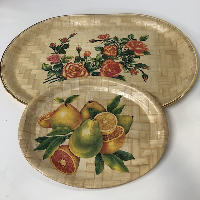 TRA0083 TRAY, Oval Woven w Floral or Fruit $3.75